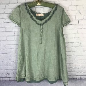 Pretty Angel Boho Sage Green Lined Blouse Large